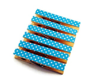 Clothespin Magnets Kitchen Clips  Decorative  Wooden Clothespins in Blueberry Polka Dots