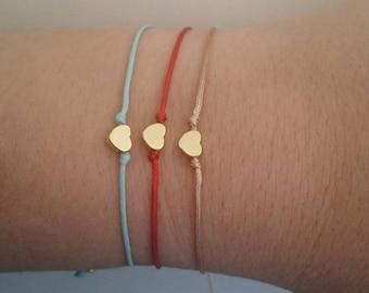 Gold Heart String Bracelet Minimalist Tiny Gold Heart Thread Bracelet Minimal Bracelet Heart Charm Bracelet Friendship Bracelet Gift for Her