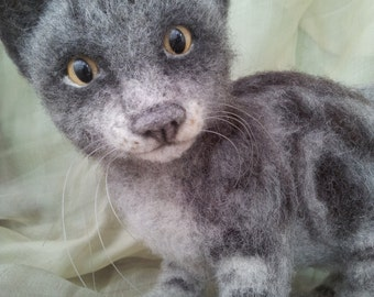 Needle felting  сat- Gray .COLLECTIBLE TOYS.