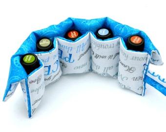 Essential Oil Case Holder Scripture Christian - Roller Bottle Storage Carrier - 5 Pocket