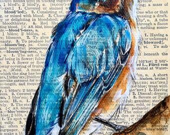 Small Blue Bird  Original Painting