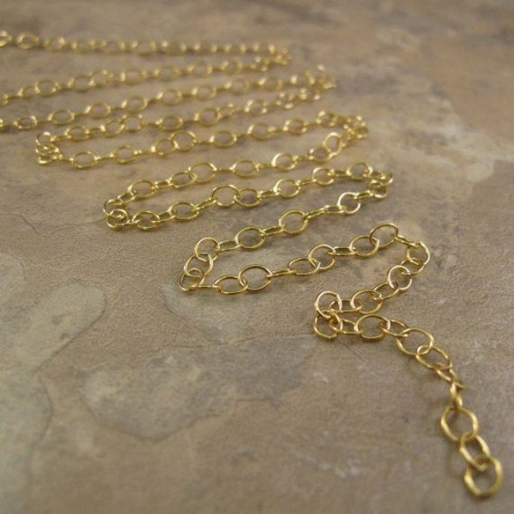 Three Feet of Thin Gold Chain, Small Rounded Cable Chain, 14k Gold Filled Chain, 3 Feet of 1.2mm Gold Jewelry Chain for Necklaces (1020f)