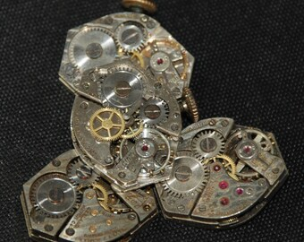 Vintage Watch Movements Parts Steampunk Altered Art Assemblage RT 62
