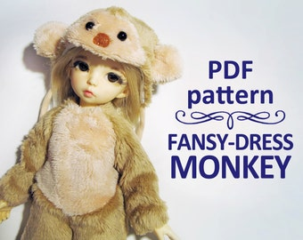 PDF pattern fansy-dress costume Monkey for LittleFee Yo-sd bjd (10 inches doll)