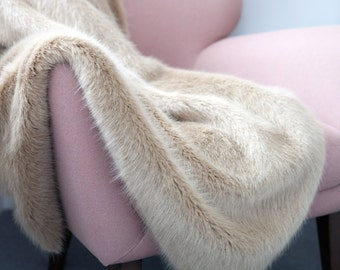Faux Fur Throw in Honey Bear