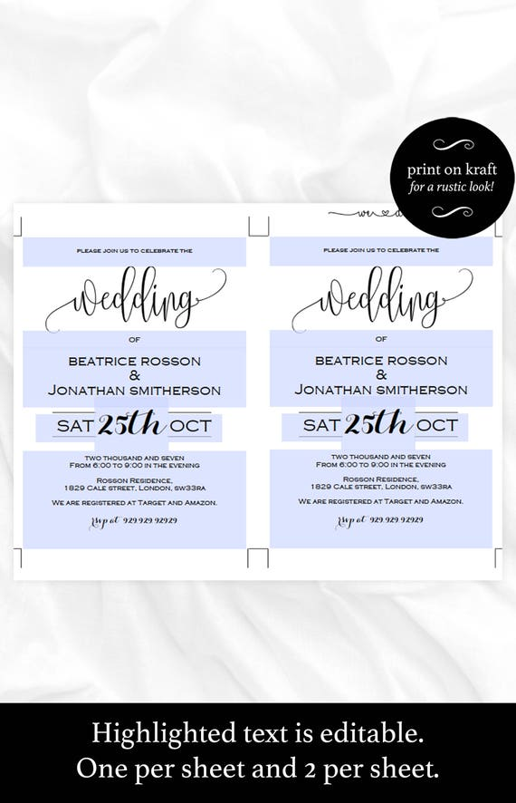 Wedding Invitation Template Kraft Wedding Invites Printable