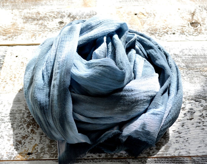 Grey Scarf - Hand Dyed Cotton Shibori - 25 x 68 inches - Storm