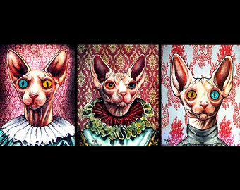 "Prints 11x14"" - Kats - Hairless Cat Sphynx Victorian Queen Animal Cute Kittie Dark Art Cute Gothic Edwardian Pop Art Creepy Red Gothic Red"
