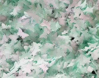 White & Cool Mint tissue paper small butterfly handmade confetti party and table decor Wedding /Birthday etc..