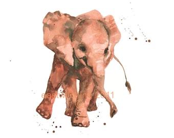 Watercolor ELEPHANT print, elephant painting, kids wall art, 8x10 print, ready to frame
