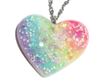 Glow in the Dark Necklace Glow Jewelry Big Rainbow Heart Pendant Fairy Kei Jewellery Big Pastel Goth Bauble