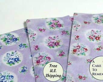 """Three full sheets of printed wafer paper, vintage floral pattern, for cake and cookie decorating. 8"""" x 10.5"""" edible paper prints"""