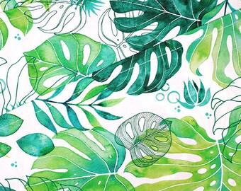Monstera Tea Towel - Tropical Leaf Pattern, Kitchen Towel