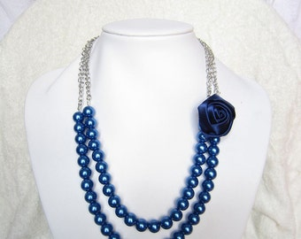 Wedding Navy Blue Silk Ribbon Fabric Rosette Flower Necklace,Chain Necklace,Pearl Necklace,Party Bridesmaid Necklace,Flower For Her