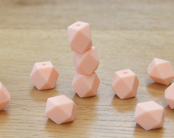 Silicone beads/PEACH 19mm Geometric Silicone beads, 10 pack