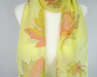Hand painted silk scarf,  silk scarf, yellow silk scarf,  gold scarf, bronze silk scarf