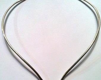"Heavy Neck Ring, Any Size (16"", 18"", 20"") Solid, Sterling Silver, Choker, Handmade"