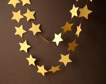 Star garland, Golden decoration, Birthday decor, Gold garland, Gold star garland, Gold Nursery decoration