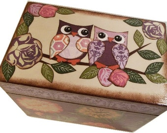 Recipe Box, Address File Box,  Index Card Box, Decoupage Wooden Box, Holds 4x6 Cards, Home Office Decor, Owl Box, Organizer,  MADE TO ORDER