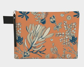 Orange and Teal Mountain Flora Zip Pouch Multiple Sizes