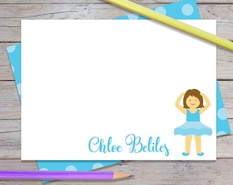 Personalized Note Cards for Girl, Ballet Thank You Notes, Girls Custom Notecards, Blue Polka Dots, Blank Card & Envelopes (Item #1708-001FL)