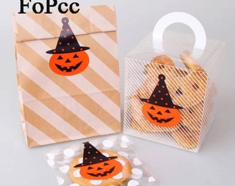 10 stickers in the shape of a pumpkin for Halloween