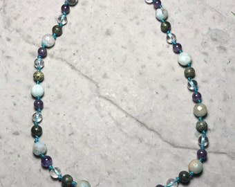 """15"""" All The Feels // little kid big emotions // empathic // healing // cleansing // hand knotted gemstone childrens necklace //"""