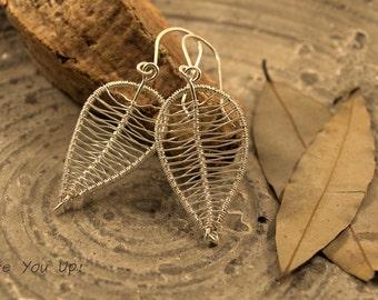 Silver leaf earrings, dangle earrings, wire wrapped leaf earrings, silver leaves earrings, gift for her