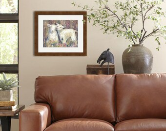 sheep art | fine art PRINT | animal painting | spring country decor | mixed media collage | farm animal