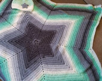 Baby Afghan- greens grays- infant sized hat-boy baby afghan-baby blanket