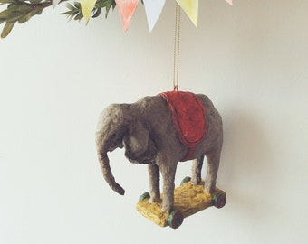 Collectible Handmade Spun Cotton Ornament Elephant Toy on Wheels,Christmas Decoration,Circus Lovers,Miniature,Figurine,Vintage,Stylish Gift