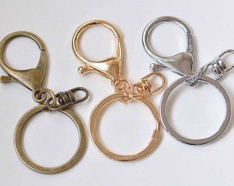 10 pcs Large Keychain Key Ring With Lobster Swivel Clasps for Adding Lanyards Charms  Antique Bronze/Light Gold/Rhodium