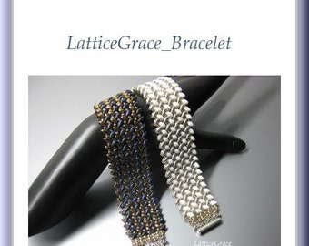 SuperDuo Beading Tutorial instructions patterns- PDF download- LatticeGrace/bracelet