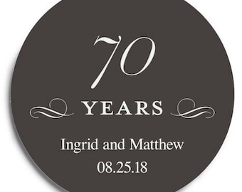 Set of 100 Round Wedding Coasters - Seventieth Anniversary - Custom Coasters - Weddings - Wedding - Wedding Reception - Wedding Coasters