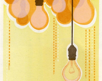 Illumination Lightbulb Light Inspiration Letterpress Print, Yellow Orange Brown