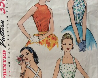 Simplicity 1661 misses blouses size 14 bust 32 vintage 1950's sewing pattern