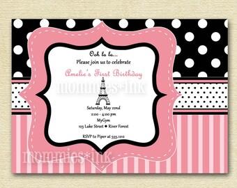 Paris Chic Eiffel Tower Birthday Party Invitation - PRINTABLE INVITATION DESIGN
