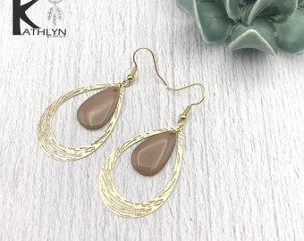 Earrings drops taupe and gold