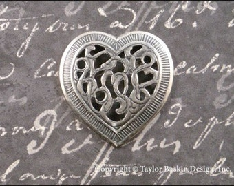 Antique Sterling Silver Plated Victorian Filigree Heart (item 317-NR AS) - 6 Pieces