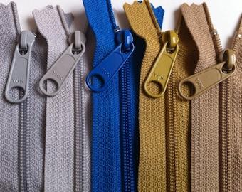 Zippers: 16 Inch 4.5 Ykk Purse Zippers with a Long Handbag Pull - 5 Piece Sampler Pack- Grandpa's Wardrobe