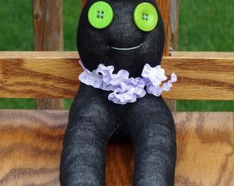 Creepy Weird Strange Sock Monster Doll , handmade sock doll named Enzo