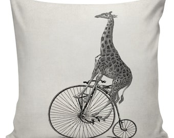 Hipster Pillow Cover Cotton Canvas Throw Pillow 18 inch square Giraffe on Bicycle #UE0014
