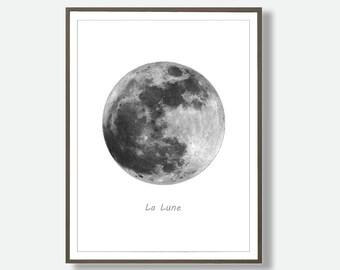 La Lune Prints, Moon Print, Moon Poster Artwork, Printable luna, Moon La Luna art, scandinave, Moon Printable, Full Moon, Moon Wall Decor