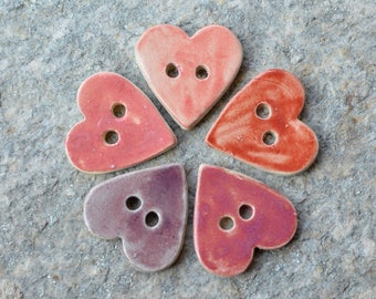 5 stoneware heart shaped buttons mixed pink and violet - 3.7 x 3.7 cm
