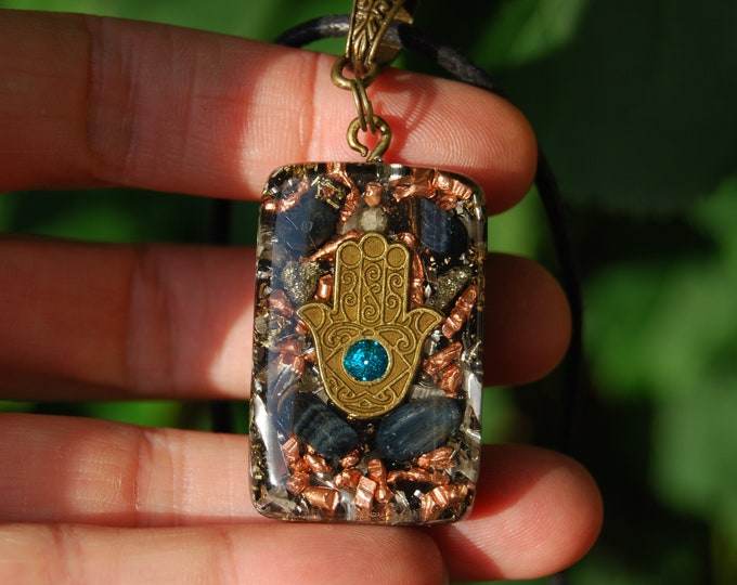 Protection Orgonite® Hamsa Hand of Mary Black Tourmaline