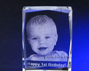 Custom Photo Crystal Paperweight A00101, Engraving Picture in Crystal Cube, Laser Etching Photo Glass Cube