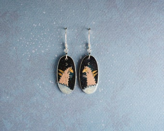 Sheep earrings, dangle ceramic earrings