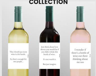 """Collection: """"Wine Thoughts"""" Wine Labels, Funny Wine Labels, Gift For Host, Wine Wednesday Decor, Wine Decor, Party decor, Wine Gift, funny"""
