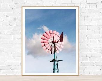 "Vertical Photo : ""Windmill"" - Windmill Print - Blue - Pink - Rustic Wall Decor - Baby Nursery Art - Windmill - Countryside Print - Wall Art"