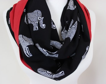 Elephant Scarf Elephant Print Scarf Elephants Black Red White Elephant Loop Scarf Elephant Pattern Scarf, For Her, Scarf Angel, Gift For Her